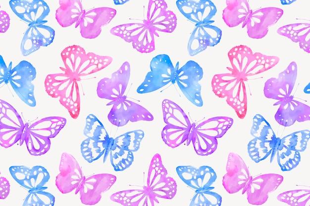 水彩蝶の背景パターン、フェミニンなデザインベクトル