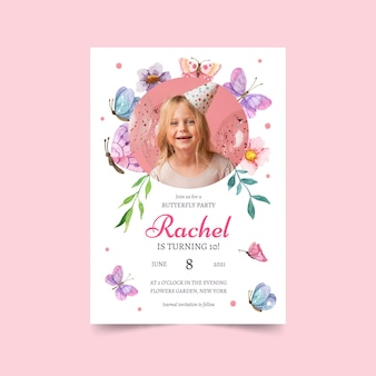 Watercolor butterfly birthday invitation with photo