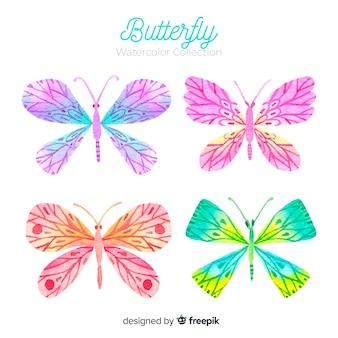 Collezione di farfalle ad acquerello