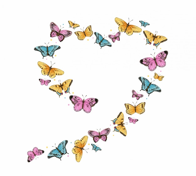 水彩蝶ハートフレーム