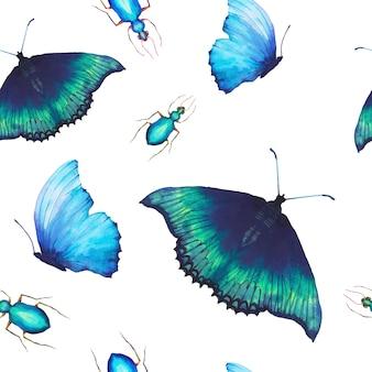 水彩蝶のシームレスなパターン。手描き多色蝶