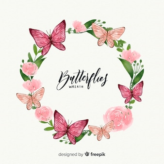 Watercolor butterfly wreath
