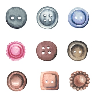 Watercolor buttons collection.