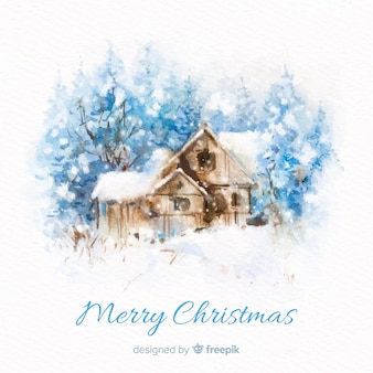 Watercolor cabin christmas background