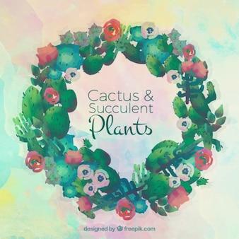 Акварели кактусы венок