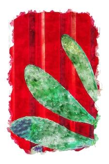 Акварель кактус и красный фон