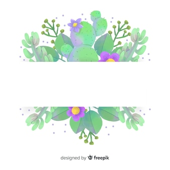 Watercolor cactus banner with blank banner