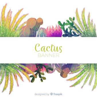 Акварельный баннер кактуса