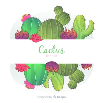 Watercolor cactus banners with blank banner