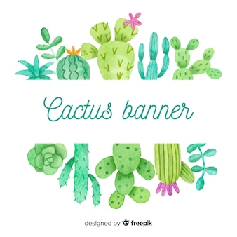 Watercolor cactus blank banner