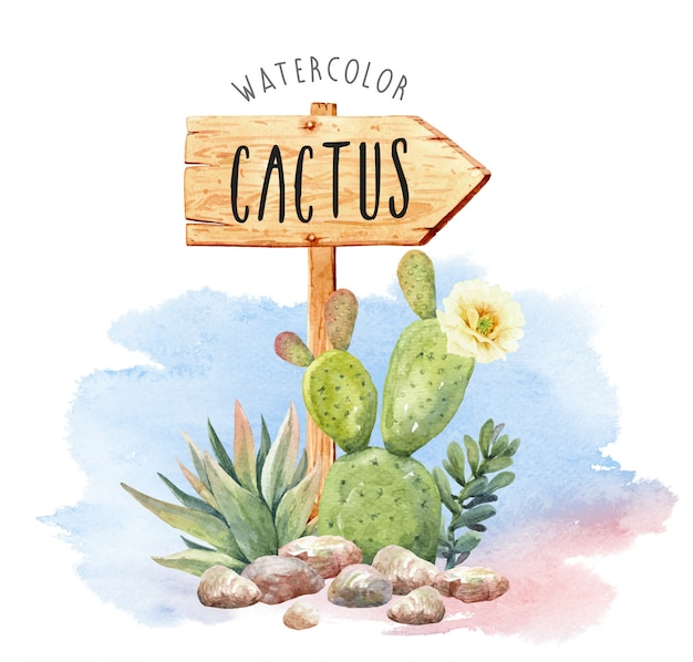 Watercolor cactus collection with sign of wood.