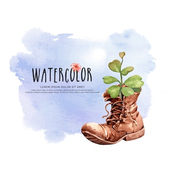 Watercolor cactus heart-shaped leaves with boots pot.