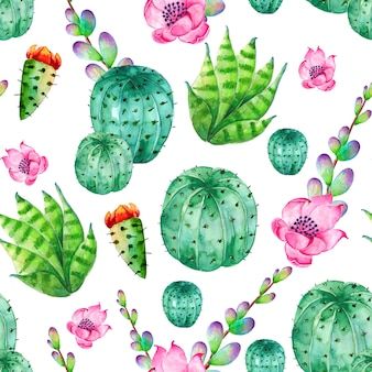 Watercolor cactus pattern with flowers