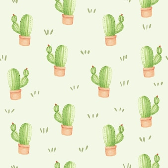 Watercolor cactus seamless pattern background