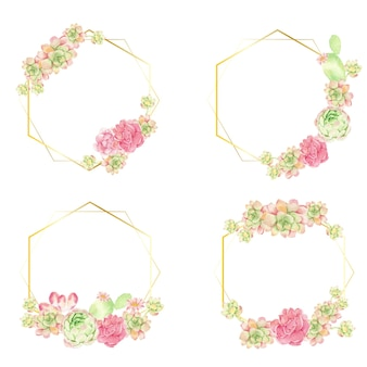 Watercolor cactus and succulent bouquet arrangement on geometry gold wreath frame collection isolated
