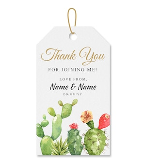 Watercolor cactus thank you tag hanging.