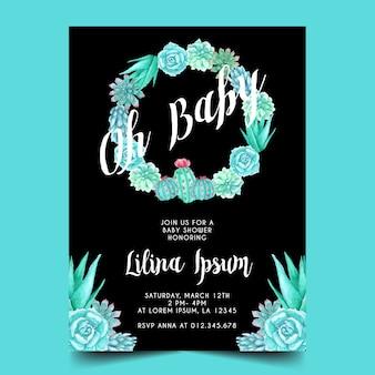 Watercolor cactus theme for baby shower invitation