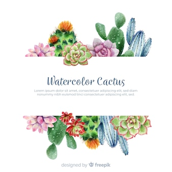 Watercolor cactus with blank banner