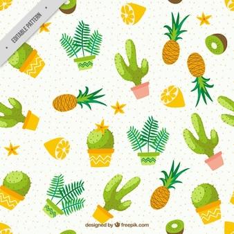 果物パターンと水彩サボテン