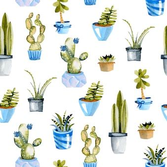 Watercolor cactuses in a blue pots seamless pattern
