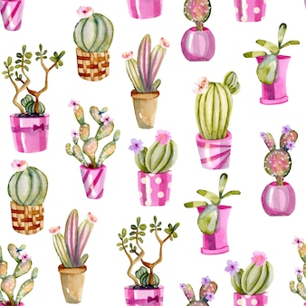Watercolor cactuses in a pink pots seamless pattern