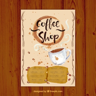 Watercolor cafe menu