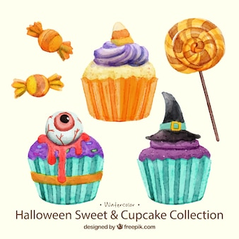 Watercolor cakes and candies halloween