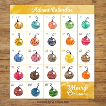 Watercolor calendar advent with decorative baubles