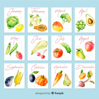 Watercolor calendar of seasonal vegetables and fruits