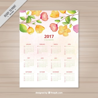 Watercolor calendar with different types of flowers