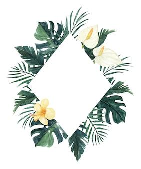 ハイビスカス、モンステラ、ヤシの葉と水彩のカラーリリー花のフレーム。