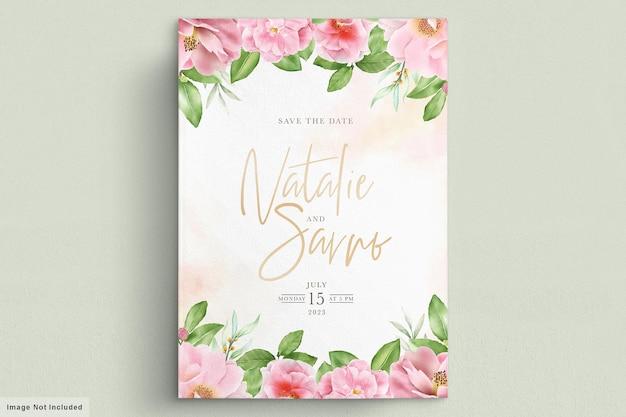 水彩椿の花の招待状