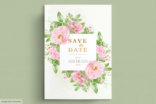 Watercolor camellia flowers invitation card