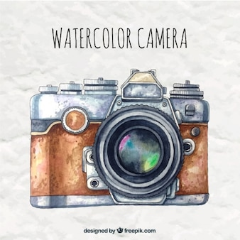 Watercolor camera in retro style