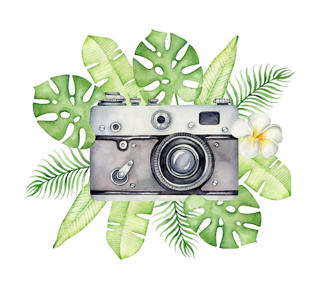 Watercolor camera and tropical leaves