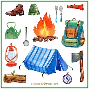 Watercolor campsite things set