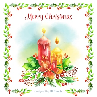 Watercolor candles christmas background