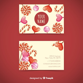 Watercolor candy business card template