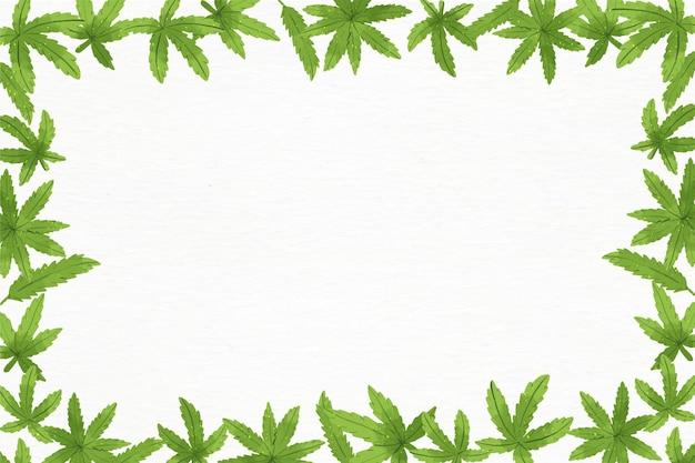 Акварельный фон листьев каннабиса с пустым пространством