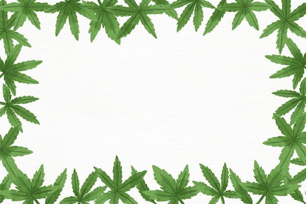 Акварель фон листьев конопли