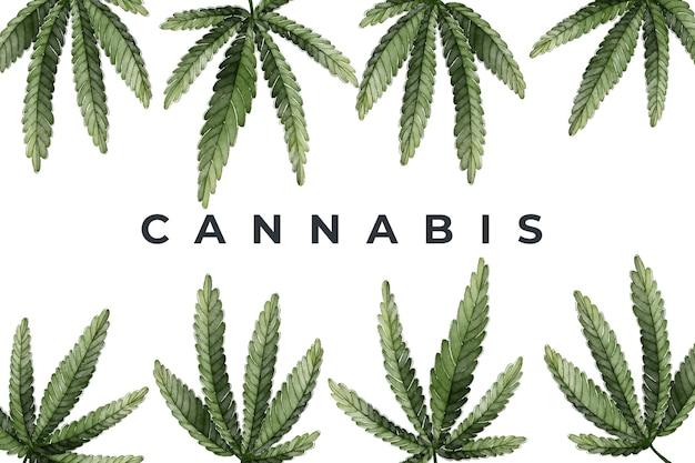 水彩大麻の葉の背景