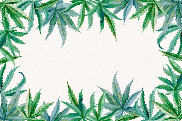 Watercolor cannabis leaf background