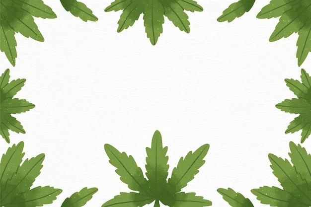 Акварельные обои из листьев каннабиса с пустым пространством