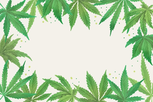 Watercolor cannabis leaf wallpaper with empty space
