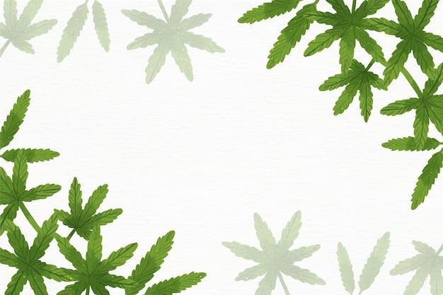 Акварельные обои с листьями конопли