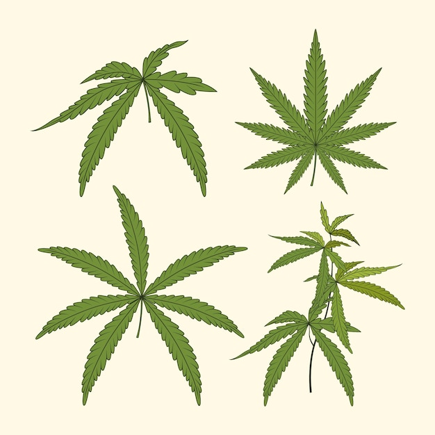 Watercolor cannabis leaves set
