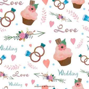 Watercolor capcake and wedding elements pattern