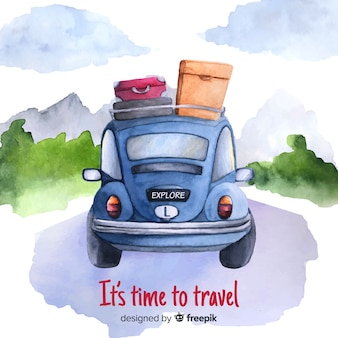 Watercolor car travel background