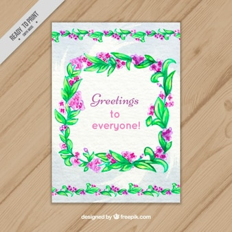 Watercolor card with floral frame