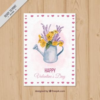 花や水彩画と水彩画カード